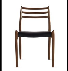 1960 年代 NILS MOLLER 設計的 78 型黑黃檀木黑色真皮餐椅