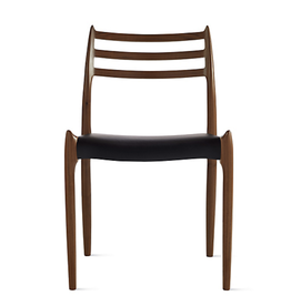 1960'S PALISANDRE MODEL 78 DINING CHAIR WITH BLACK LEATHER SEAT BY NILS MOLLER