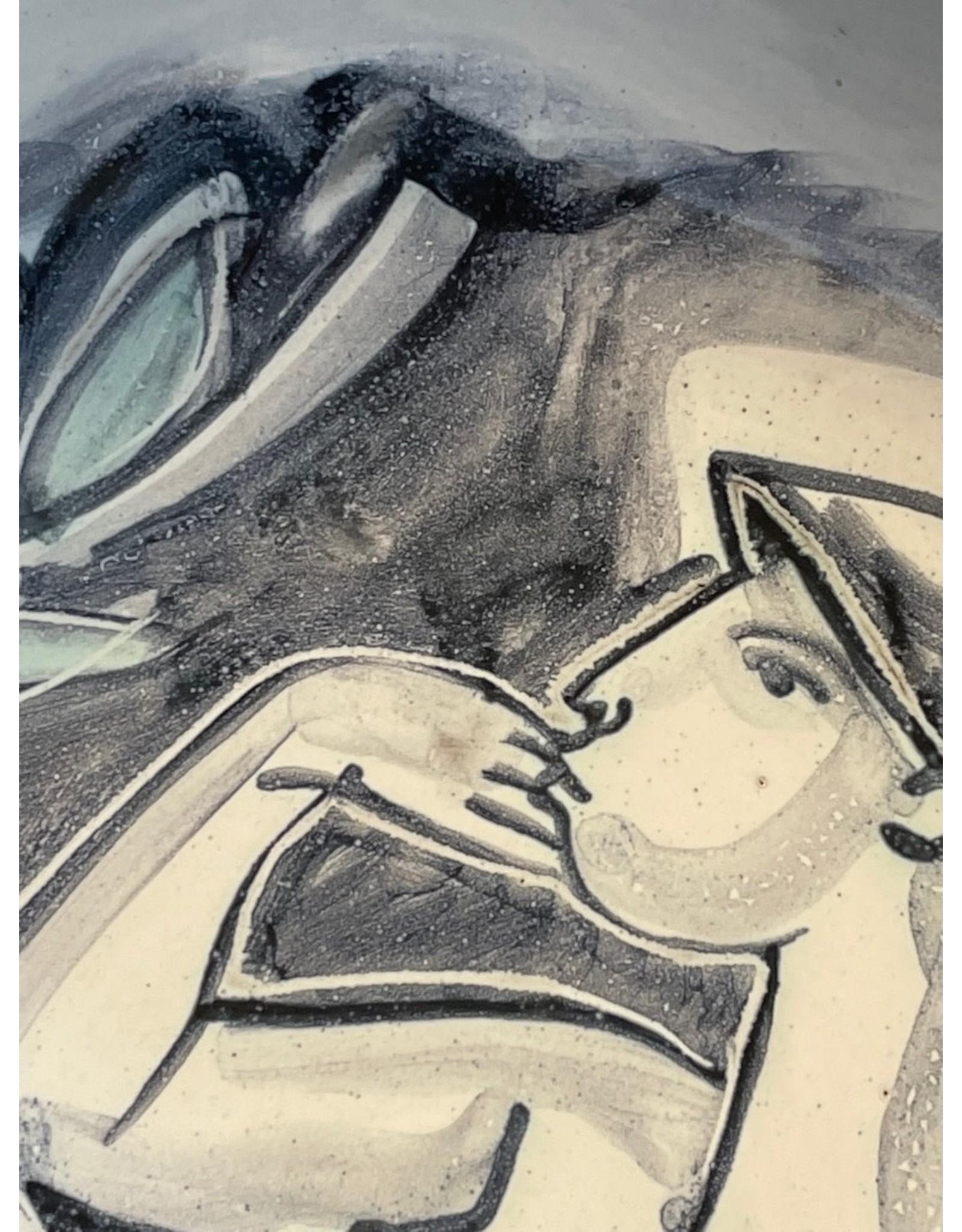 1950's STUDIO GLAZED STONEWARE BOWL- LADY BATHING IN MOONLIGHT