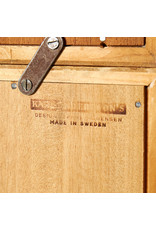 1960's ORESUND OAK SECRETAIRE WITH ORANGE/YELLOW/WHITE DRAWERS