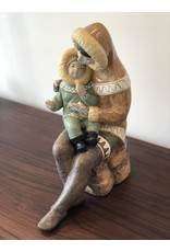 RARE 1970'S FIGURINE OF SEATED INUIT MOTHER WITH CHILD IN LAP