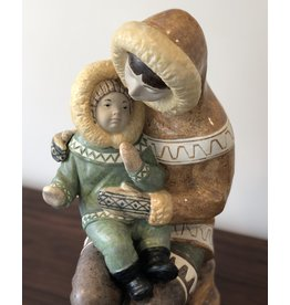 1970'S 稀有因紐特人母子雕像