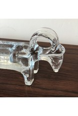 1960's STUDIO CLEAR GLASS CANDLESTICK WITH RAM HEAD ENDS