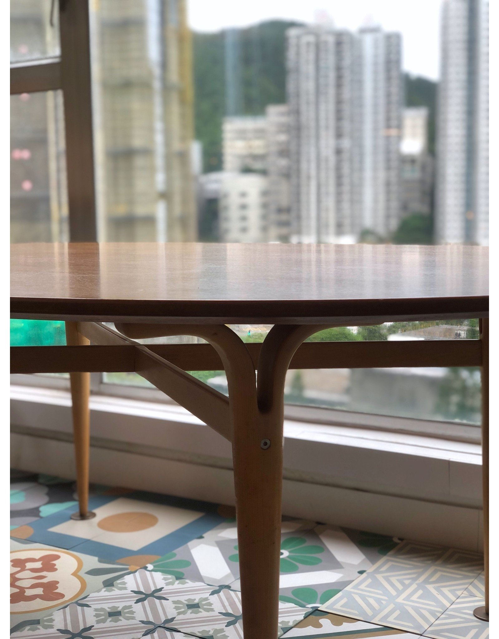 1960's SUPERELIPSE TEAK OCCASIONAL TABLE WITH BIRCH LEGS