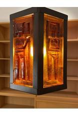 1960's STUDIO AMBER GLASS HEXANGONAL PENDANT LAMP WITH 6 MOTIFS