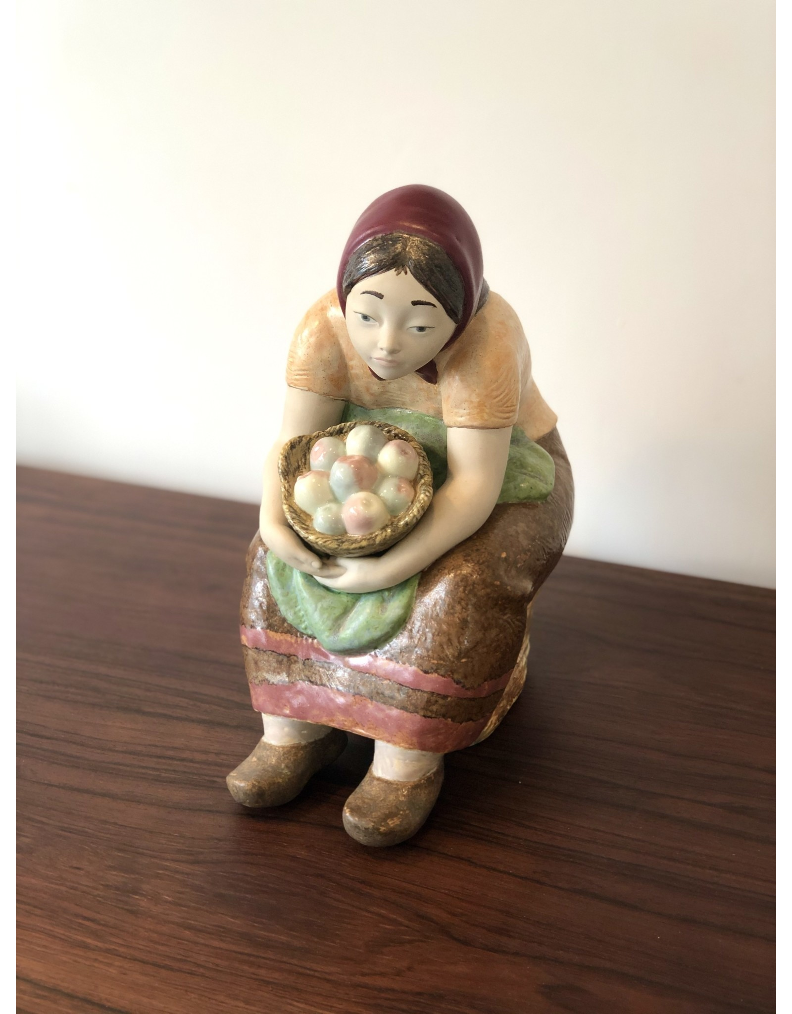RARE 1970's ZAPHIR FIGURINE OF SEATED FARMER'S WIFE WITH BASKET