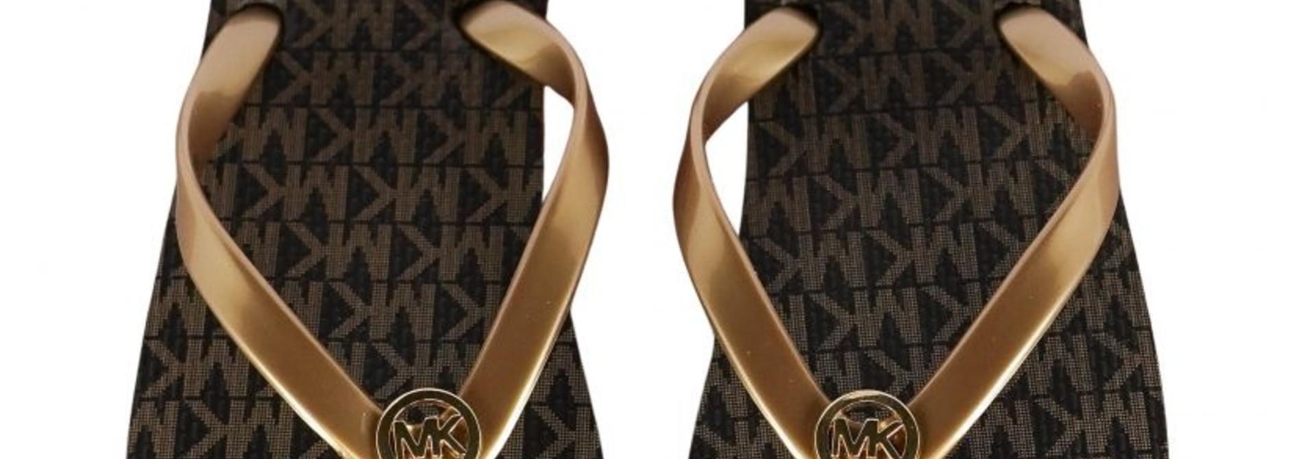 Michael Kors MK flip flop Stripe Eva  Brown