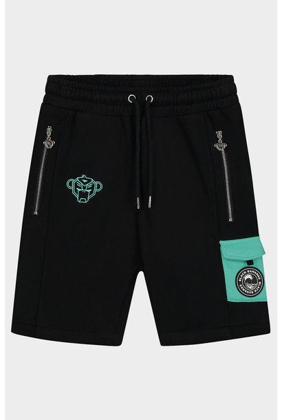 Jr Contrast Pocket Short Black Aqua