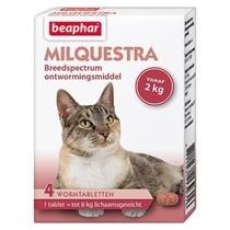 Milquestra wormtabletten kat vanaf 2 kg,  4 tabletten