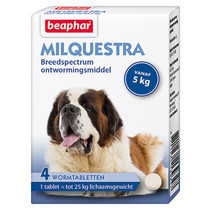 Milquestra  wormtabletten  Hond  vanaf 5 kg  4 stuks