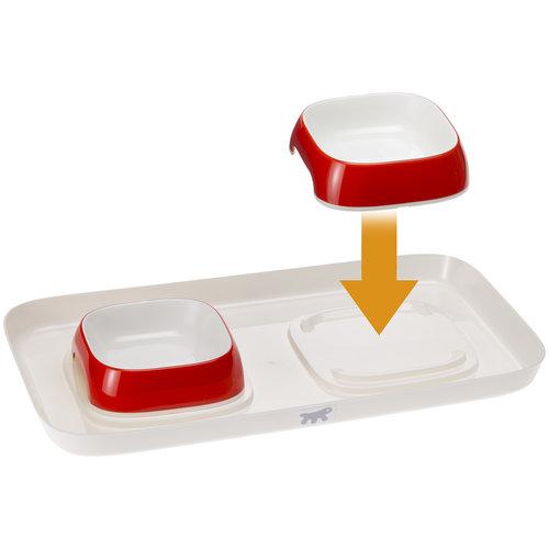 Ferplast Glam  tray  XS ,  2 voerbakjes  op plateau  met de kleur rood