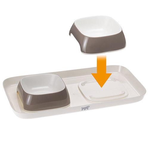 Ferplast Glam  tray  S,  2 voerbakjes  op plateau  met de kleur duif grijs