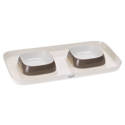 Ferplast Glam  tray  XS ,  2 voerbakjes  op plateau  met de kleur duif grijs