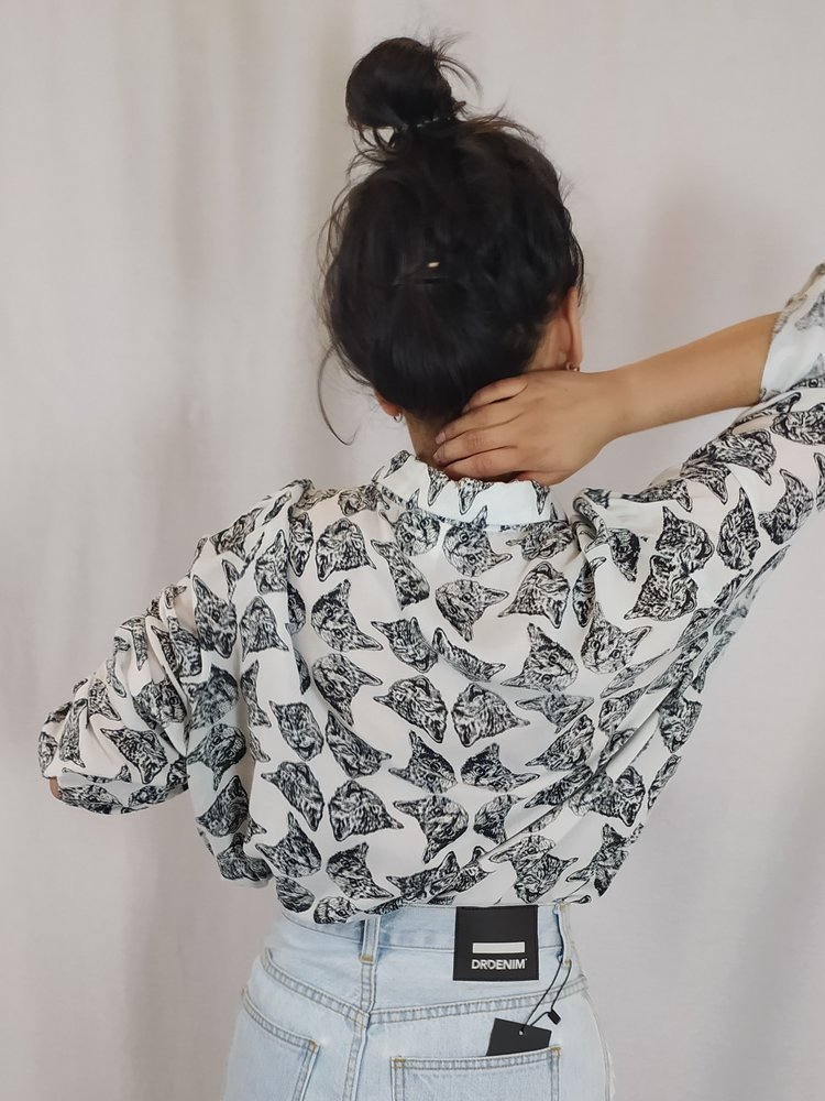 Monki Kattenprint blouse - zwart wit