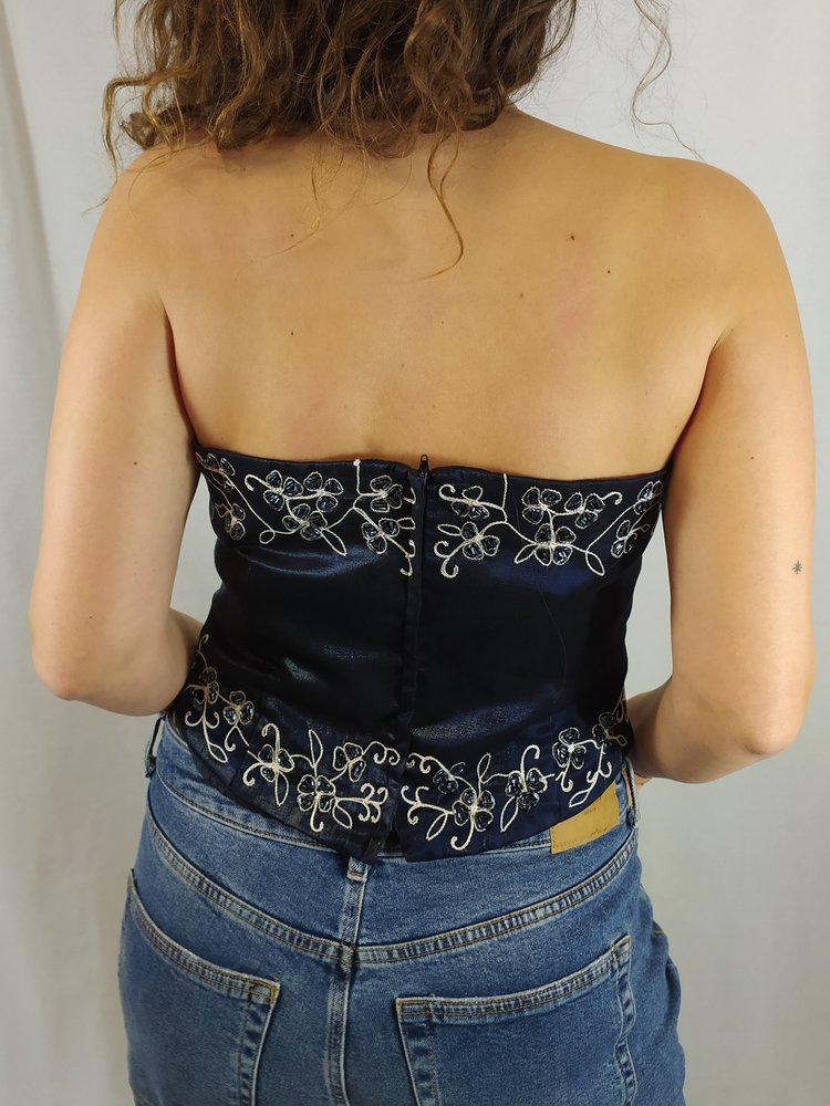 Vintage Vintage corset - donker blauw kraaltjes