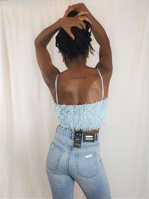 Zara Fluffy top - light blue