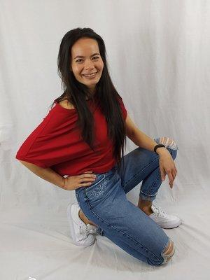 Cora Kemperman Off-shoulder T-shirt - red basic