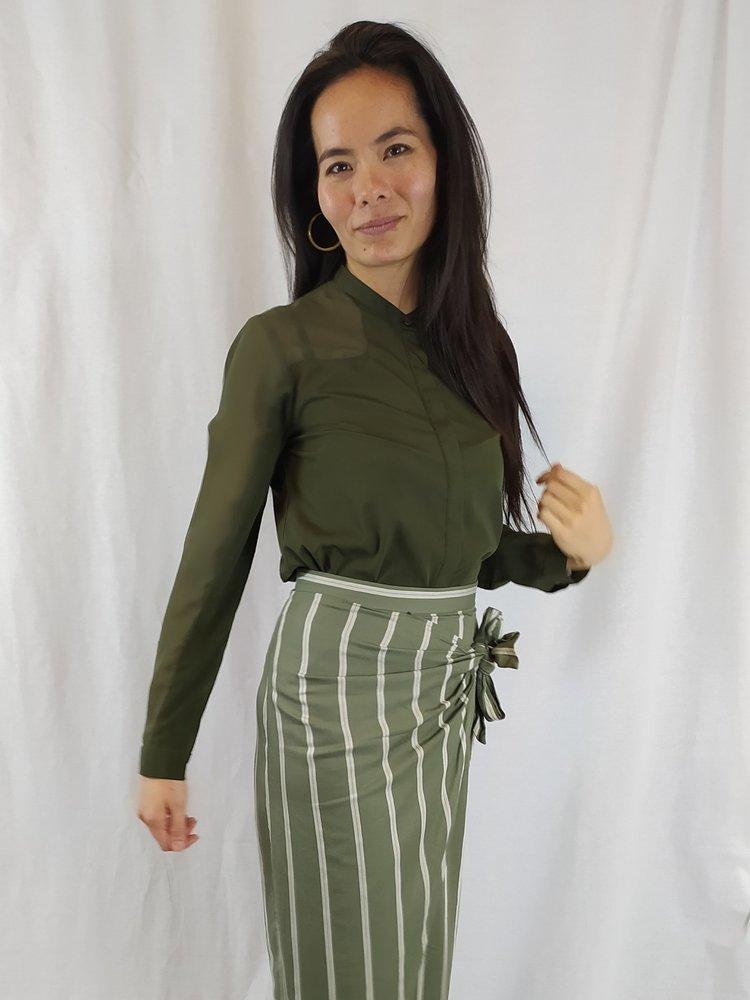 French Connection Chique blouse - legergroen