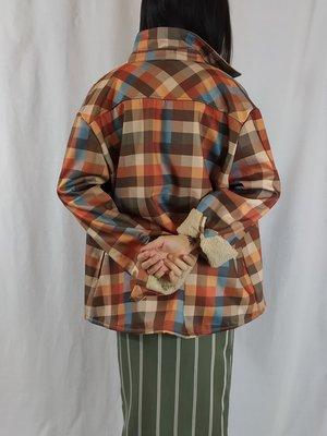 Guelenkke Gevoerde jas - oranje blauw geblokt