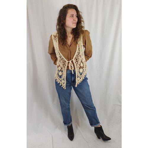 MS Mode Crocheted bohemian waistcoat - cream