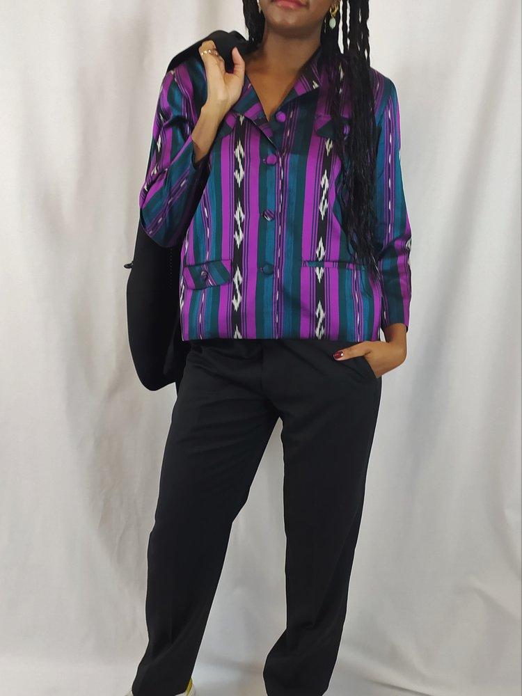 Vintage Vintage jas - paars blauwe strepen