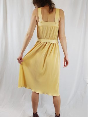 Vintage Vintage jurk - pastel geel riem