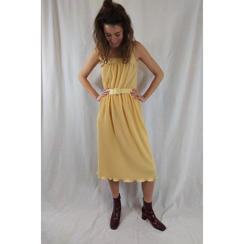 Vintage Vintage dress - pastel yellow belt