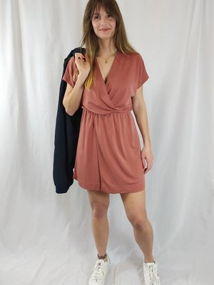 Monki Soft short dress - coral red