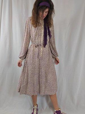 Go-kleid Vintage jurk - paars wit stippen
