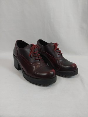 Queen Helena Vintage lace-up shoes - burgundy heel