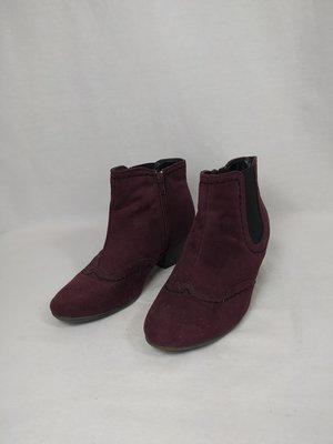 Graceland Suede ankle boots - burgundy heel (36)