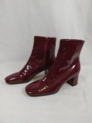 Zara Patent leather ankle boots - burgundy heel (38)