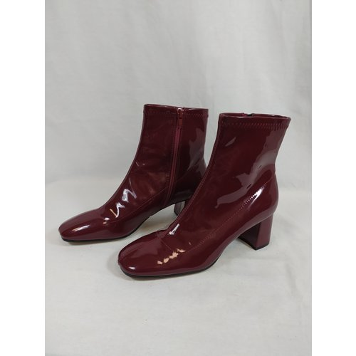 Zara Patent leather ankle boots - burgundy heel