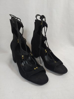 Zara Strappy heels - zwart blokhak