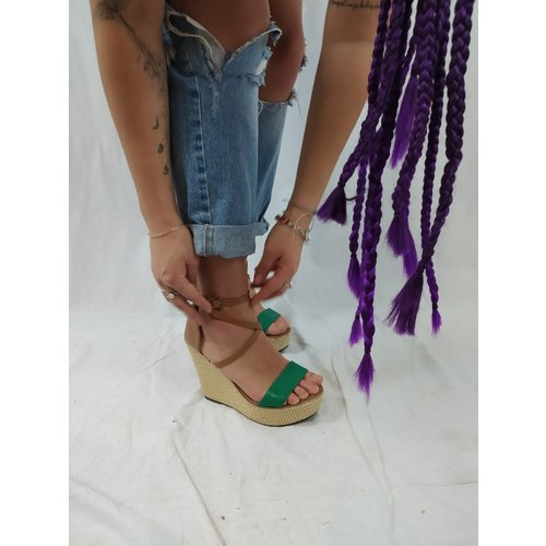 Sandal wedges - brown green