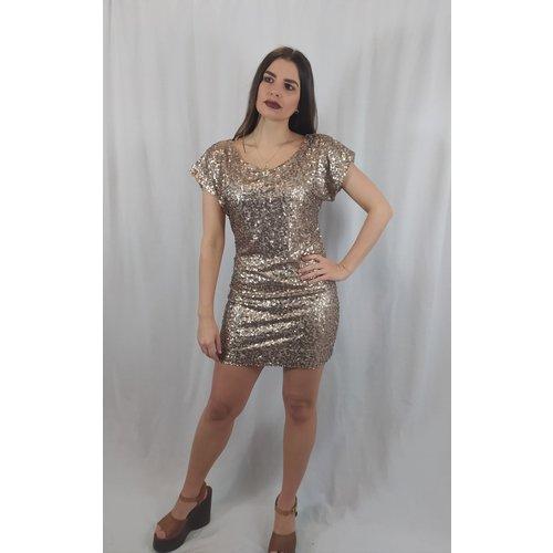 Vila Disco korte jurk - goud