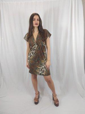 Paisley jurk - bruin v-hals