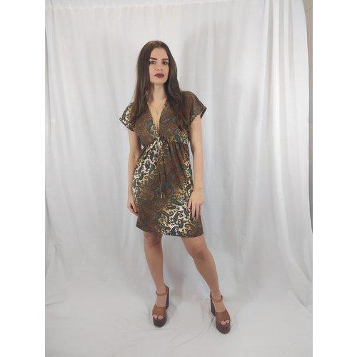Paisley dress - brown v-neck