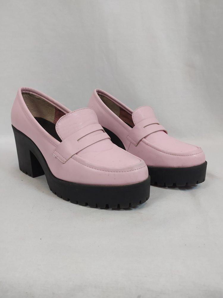Asos Retro plateau loafers - roze zwart (38)
