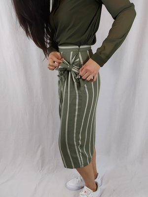 H&M Wrap skirt - green white striped