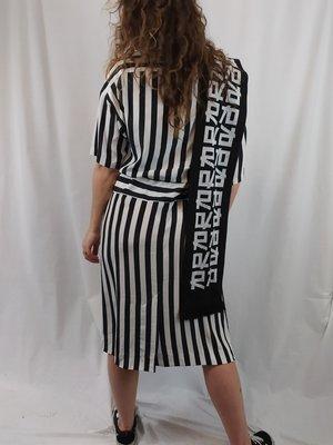 Carriage court Oversized jurk - zwart wit gestreept