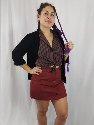 Striped blouse - black red