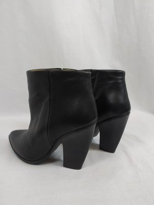 H&M Leather ankle boots with block heel - black