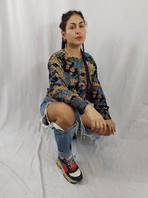 Cami Floral shirt - blue long sleeves