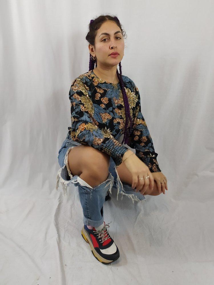Cami Bloemen shirt - blauw lange mouwen