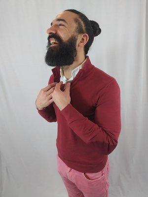 Massimo Dutti Polo jumper - burgundy buttons