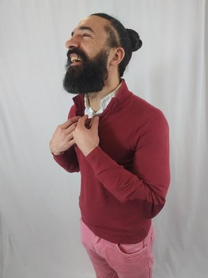 Massimo Dutti Polo trui - bordeaux knopen