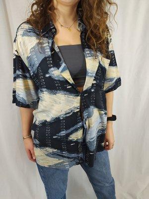 Vintage Vintage blouse - zwart blauw créme