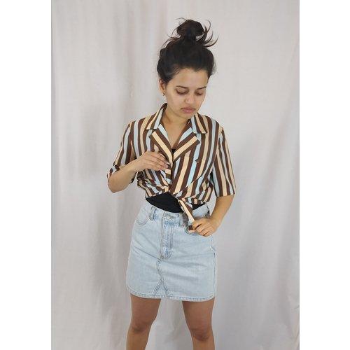 Vintage Vintage blouse - brown blue striped