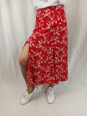 H&M Bloemen midi-rok - rood wit